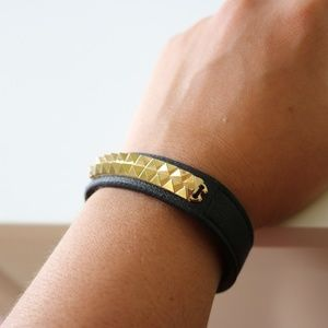 BCBGeneration Black Leather and Gold Cuff Bracelet